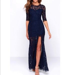 Lulus Only One Navy Lace Maxi Dress Half Sleeve SM